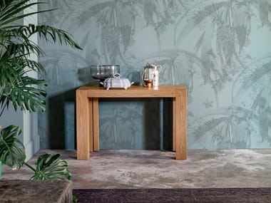 Extending rectangular solid wood console table BROOKLYN | Console table