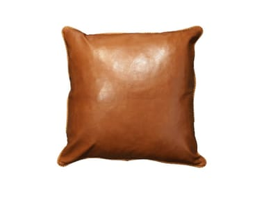 Solid-color square leather cushion BROWN