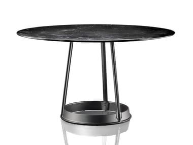 Tavolo rotondo in marmo Nero Marquina e ghisa BRUT | Tavolo in marmo Nero Marquina