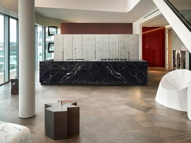 Nero Marquina marble kitchen with island BT45 CG