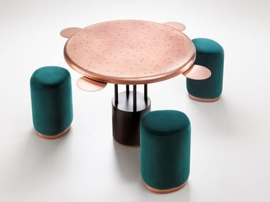 Round copper game table with stool BURRACO
