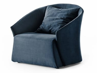 Fabric armchair with removable cover with armrests BUSTIER