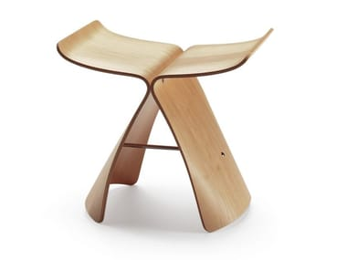 Low multi-layer wood stool BUTTERFLY STOOL