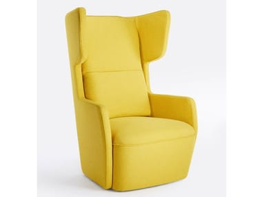 Wing fabric armchair with armrests BUTTERFLY | Upholstered armchair