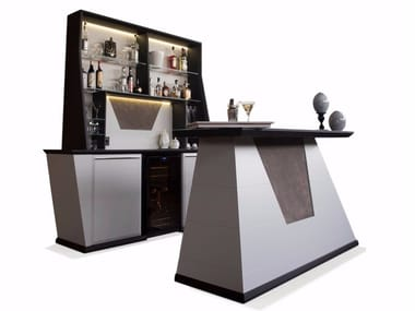 Illuminated wooden bar counter Bar con Bancone