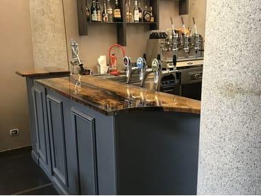 Bancone bar in legno di briccola Bancone bar