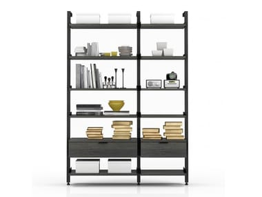 Sectional aluminium bookcase with drawers GRAVITY | Bookcase