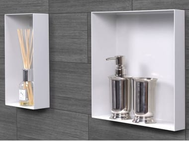 Stainless steel wall niche / bathroom wall shelf C-BOX White