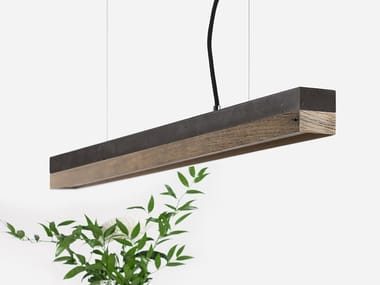 Dimmable LED pendant light (L 92cm) [C2] DARK OLD WOOD
