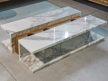 Low rectangular marble coffee table C2