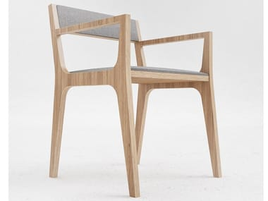 Wood veneer chair with armrests C2 | Chair