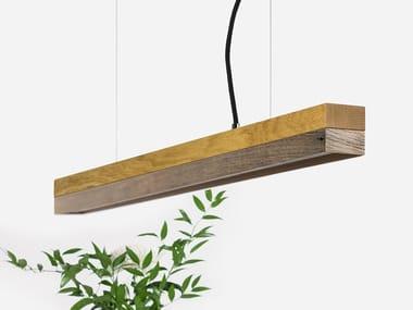 Lampada a sospensione a LED in rovere e legno di recupero [C2o] OLD WOOD