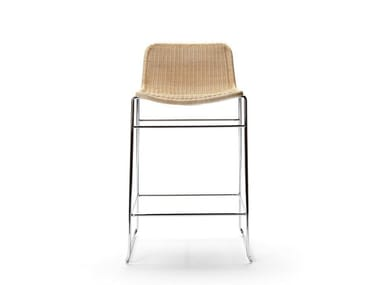 Sled base rattan barstool with footrest C607 | Stool