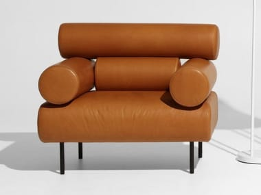 Leather armchair with armrests CABIN | Leather armchair