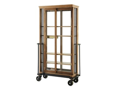 Walnut display cabinet with casters CABINET OF CURIOSITY READ