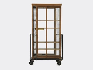 Walnut Display Cabinet With Casters CABINET OF CURIOSITY