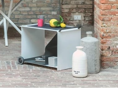Aluminium coffee table / food trolley CABRIOLET