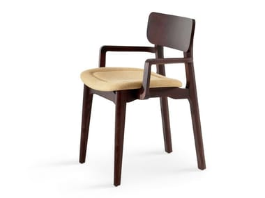 Upholstered chair with armrests CACAO SP
