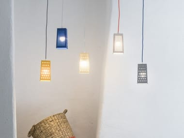 Lampada a sospensione a LED a luce diretta in Laprene® CACIO&PEPE S