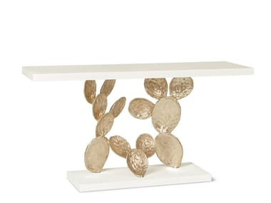 Lacquered rectangular stone console table CACTUS