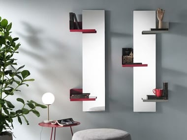 Rectangular wall-mounted mirror with shelf CACTUS