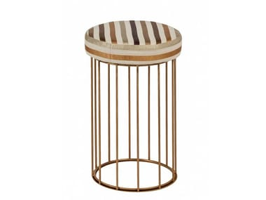 Upholstered round brass pouf CAGE 08