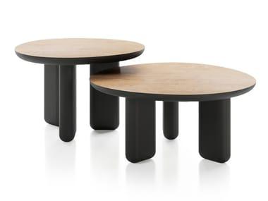 Mesa de centro redonda de madeira CAILLOU   Mesa de centro de madeira