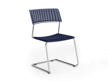 Metal and recycled polypropylene cantiliver chair CALA | Cantilever chair