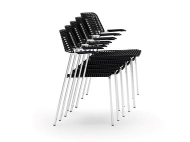 Metal and recycled polypropylene armchair CALA | Chair with armrests