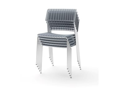 Metal and recycled polypropylene chair CALA | Stackable chair
