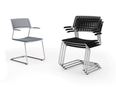 Metal and recycled polypropylene cantilever chair CALA | Stackable chair