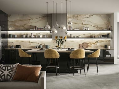 Porcelain stoneware wall tiles with marble effect CALACATTA ANTIQUE
