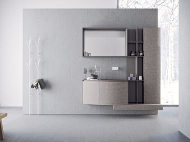 Wall-mounted HPL vanity unit with drawers with mirror CALIX - COMPOSITION A10