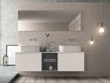 Double wall-mounted HPL vanity unit with mirror CALIX - COMPOSITION XL 05