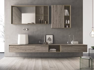 Wall-mounted HPL vanity unit with drawers CALIX - COMPOSITION XL 08