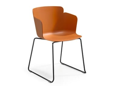 Sled base polypropylene chair with armrests CALLA PM T PP