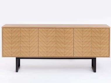 Wood veneer sideboard with doors CAMDEN Herringbone Print