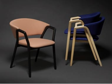 Stackable easy chair with armrests CAMDEN