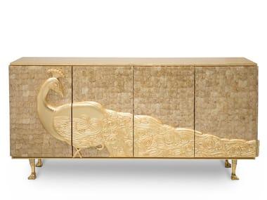 Gold leaf sideboard with folding doors CAMILIA | Sideboard