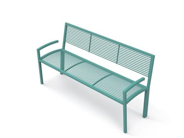 Galvanized steel Bench with armrests with back CAMILLA | Bench with armrests