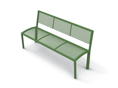 Galvanized steel Bench with back CAMILLA | Bench with back