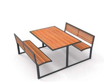 Wooden Table for public areas with integrated benches CAMILLA GRUPPO