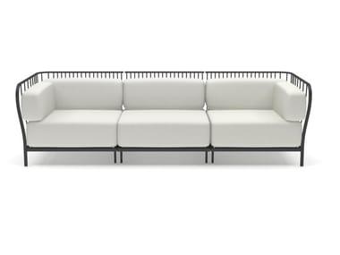 3 seater fabric garden sofa CANNOLÈ | 3 seater garden sofa