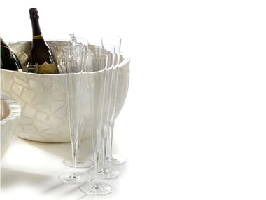 Resin Champagne Cooler with embedded clamshells CAPIZ