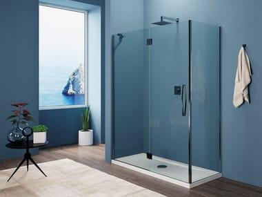 Crystal shower cabin with hinged door CAPRI