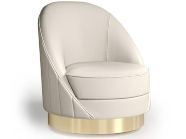 Swivel leather easy chair CAPSULE