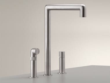 3 hole stainless steel kitchen mixer tap with pull out spray CAR 07