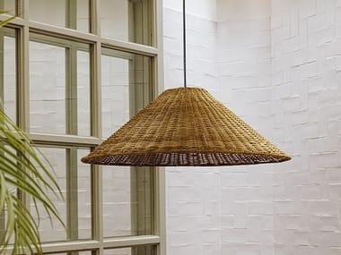 Lampada a sospensione a luce diretta in rattan CARIBE