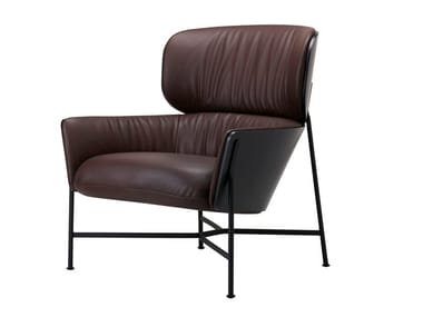 Leather armchair with armrests CARISTO | Leather armchair