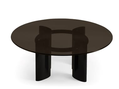 Low round wood and glass coffee table CARLOTTA | Glass coffee table